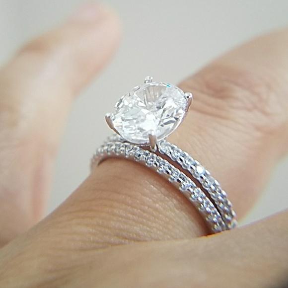 Jewelry | 3ct Oval Engagement Ring Wedding Band 2pcs Set | Poshmark